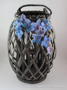 Großes Windlicht Hortensienblüten Blau