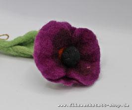 Filz-Blume  Lila Mohn, bestickt