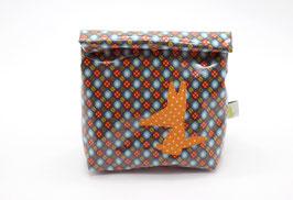 Lunch bag enduit à motifs orange-vert - loup orange