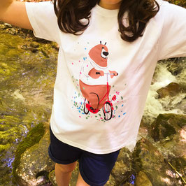 TEE-SHIRT ENFANT BLANC OURS VELO
