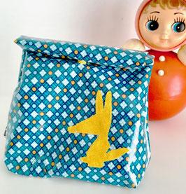 Lunch bag enduit bleu à motifs