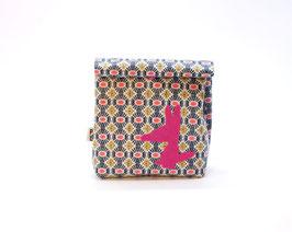 Lunch bag enduit wax rose fluo