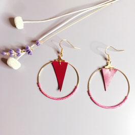 Boucles d'oreilles en cuir bordeaux