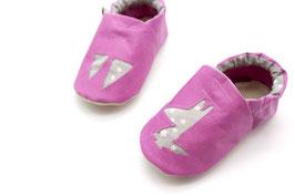 Chaussons bébé en cuir rose