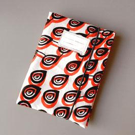 Pochette pour carnet de santé en tissu wax blanc et rouge
