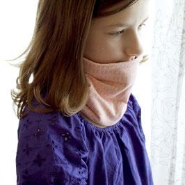 Tour de cou enfant réversible rose et gris