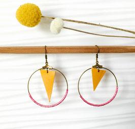 Boucles d'oreilles en cuir jaune