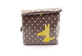Lunch bag enduit à motifs gris bleu - loup jaune