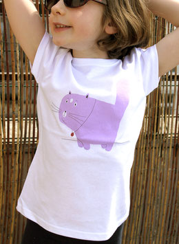 TEE-SHIRT ENFANT BLANC CHAT