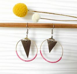 Boucles d'oreilles en cuir gris