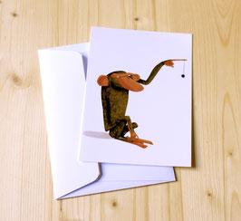 Carte postale SINGE A L'ARAIGNÉE