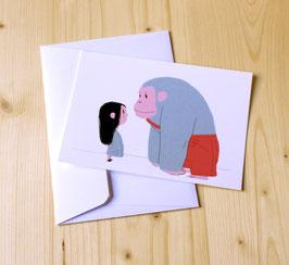 Carte postale FILLE & GORILLE