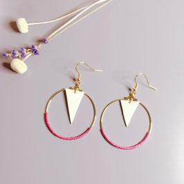 Boucles d'oreilles en cuir blanc