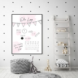 """Poster """"Geburtsposter - Dein Herzschlag"""" in Rosa"""