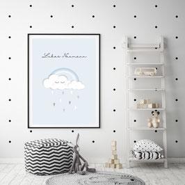 """Poster """"Clouds"""" in Hellblau"""