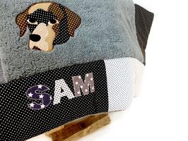 Hundedecke individualisiert mit Namen und Gesicht deines Hundes