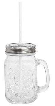 Glasbecher mit Deckel und Trinkhalm 400 ml