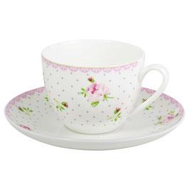 Tasse mit Untertasse Cottage Rose