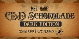 Mrs. Hanf® CBD Schokolade - Dark Edition mit 67% Kakao 25mg CBD