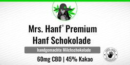 Mrs. Hanf® Premium Hanf Milchschokolade 50g | 45% Kakao 60mg CBD