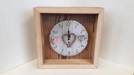 Shabby_Chic Uhr zum Aufstellen in einem Altholzrähmli