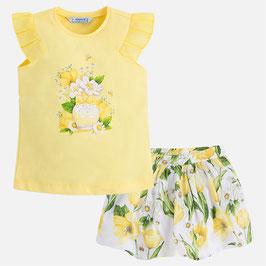 03993-047 Conjunto de falda rizada y camiseta con manga tableada para niña mayoral
