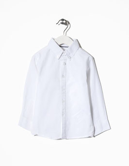 Camisa algodón blanca bebe niño zippy