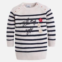 4.947 067 Mazapan Vestido de manga larga para niña en tricot a rayas Mayoral