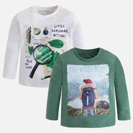 4.031 924 Eucalipto Set de dos camisetas de niño de manga larga lisas Mayoral