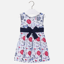 03950-045 Vestido de satén con fuelles y lazo cinturón para niña mayoral