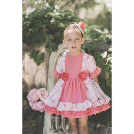 Vestido coral niña flores Dolce Petit
