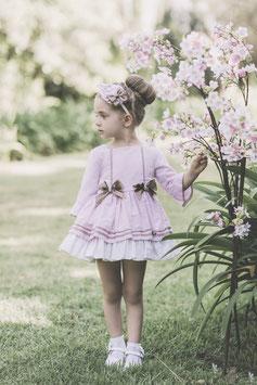 Vestido rosa lazos niña Dolce petit