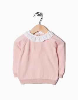 Jersey de punto rosa claro bebe niña zippy