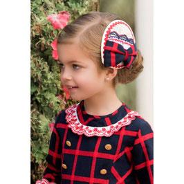 Diadema a juego Vestido de niña marino con cuadros rojos Dolce Petit