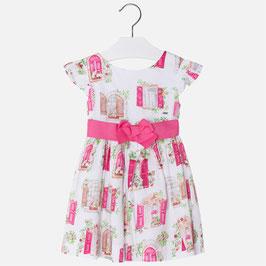 03940-018 Vestido de satén con rizo para niña mayoral
