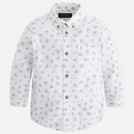 4.147 010 Blanco Camisa estampada de manga larga para niño Mayoral
