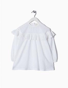 Blusa blanca plumeti volantes niña zippy