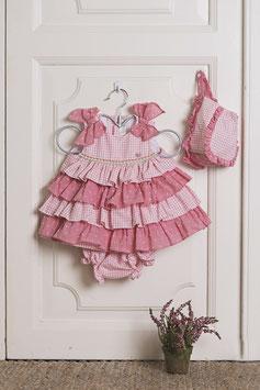 Vestido bebé niña rosa con braguita y capota Dolce Petit