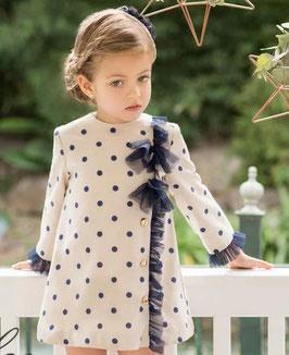Vestido niña evasé lunares marino beige Dolce Petit