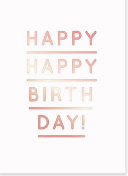"Postkarte ""Happy Birthday"" Roségold"