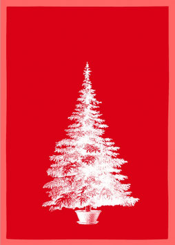 Geschirrtuch rot Baum