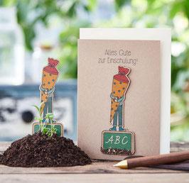 """Grusskarte zum Einpflanzen """"Einschulung"""""""