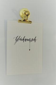 Postkarte Lettering - Glückwunsch