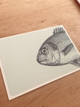 """Postkarte """"Vintage Fisch"""""""