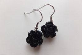 Boucles d'oreilles Rose Noir - Merveilles du Monde