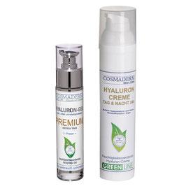 Attraktives Set-Angebot: Hyaluron-Gel Premium, Glaspumpspender, 50 ml + Hyaluron Tag- & Nachtcreme 24 h, Airless-Dispenser, 100 ml