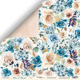 PSB-57 hoja suelta flores Blue and Blush 30x30 cm