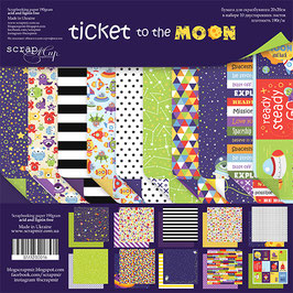 PSB-31  Papel scrapbooking 20x20 cm Ticket to the moon