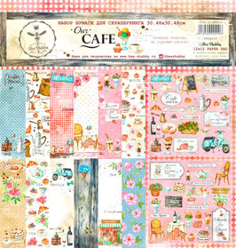 PSB-28  Papel scrapbooking 30x30 cm Our cafe
