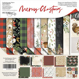PSB-08 Papel scrapbooking 20x20 cm MerryChristmas NEW